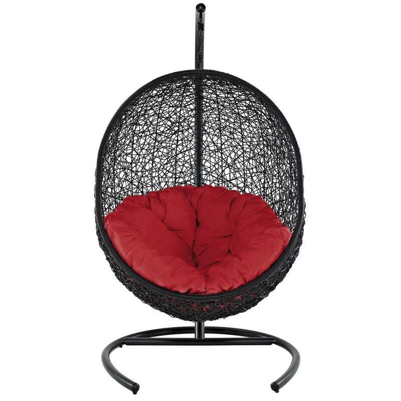 Bungalow Rose  Herculaneum Encase Swing Chair with Stand Color: Red