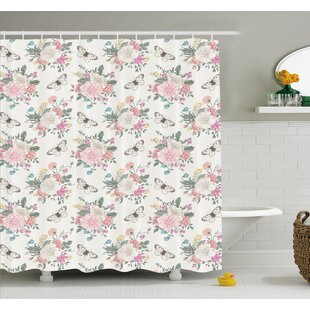 Peonies Sweet Peas Roses Bouquet and Butterflies Pastel Tones Bridal Theme Shower Curtain Set