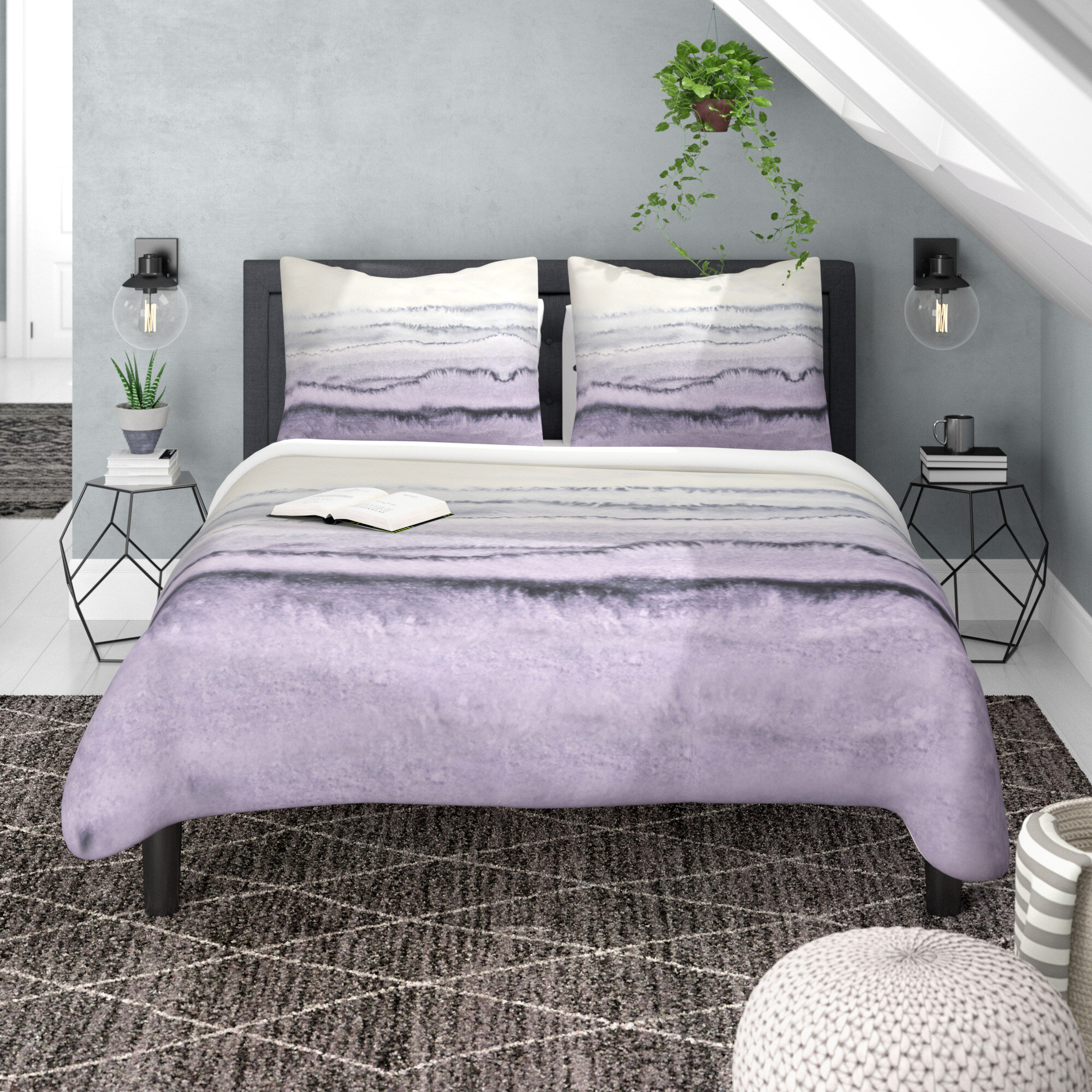 East Urban Home Within The Tides Lilac Gray Duvet Cover Set Reviews Wayfair