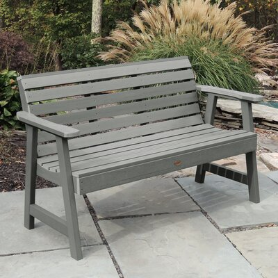 "Trigg Synthetic Plastic Garden Bench Darby Home Co Size: 32"" H x 52"" W x 25"" D, Color: Coastal Teak"
