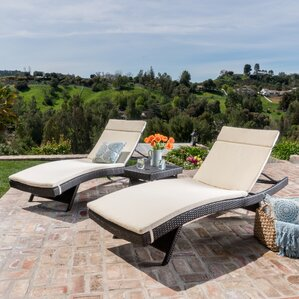 Ardoin 3 Piece Chaise Lounge Set with Cushion : chaise lounges for patio - Sectionals, Sofas & Couches