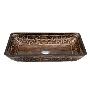 Look for Tempered Glass Rectangular Vessel Bathroom Sink ByDawn USA