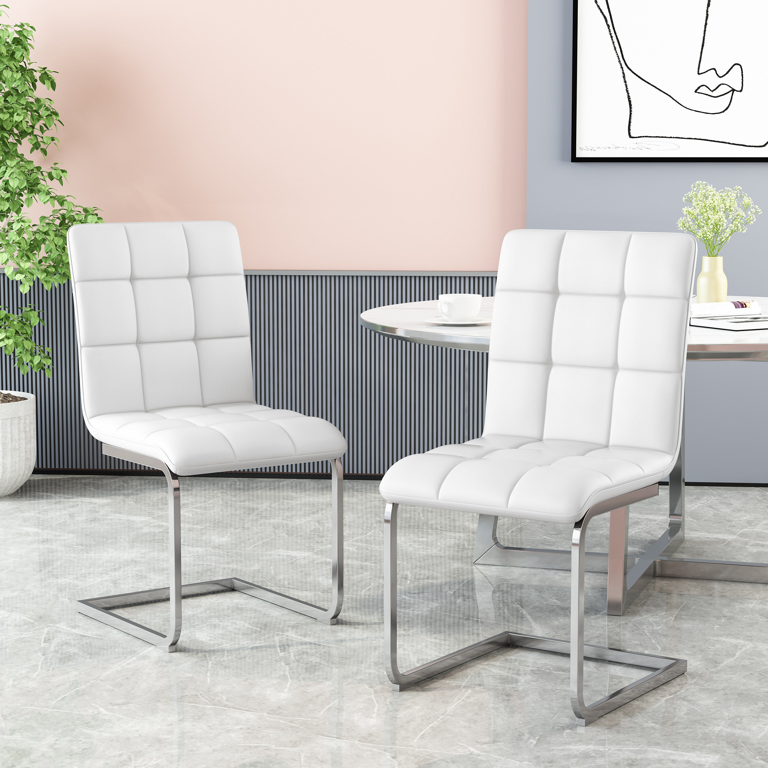 Modern Faux Leather Dining Chairs Indoor Use Black Living Bedroom Dining Room Side Chairs/Set of 2 Comfortable Kitchen Chairs with Chrome Legs for Kitchen