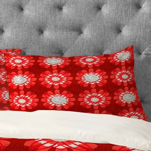 Julia Da Rocha Retro Red Flowers Pillowcase