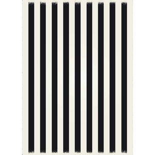 Cousar Strips of European Black/White Indoor/Outdoor Area Rug