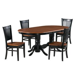 Jadyn 5 Piece Extendable Solid Wood Dining Set