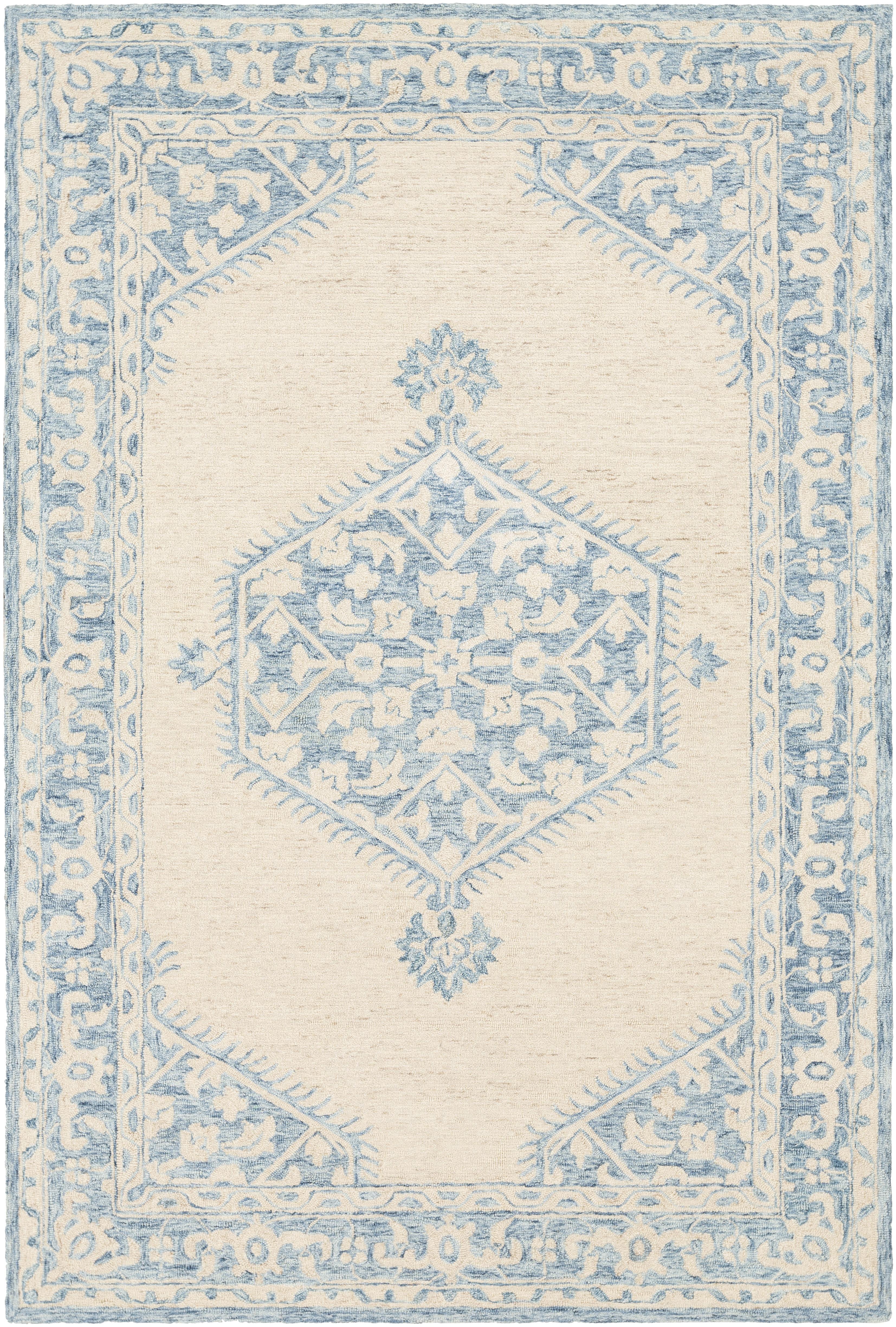 Bloomsbury Market Princetown Handmade Tufted Wool Gray Pale Blue Rug Reviews Wayfair