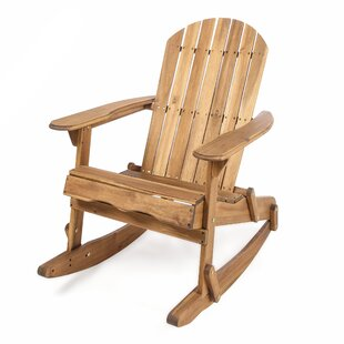 Millwood Pines Stamm Solid Wood Rocking Adirondack Chair