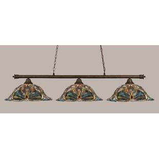 Red Barrel Studio Mendez 3-Light Kaleidoscope Tiffany Shade Billiard Light