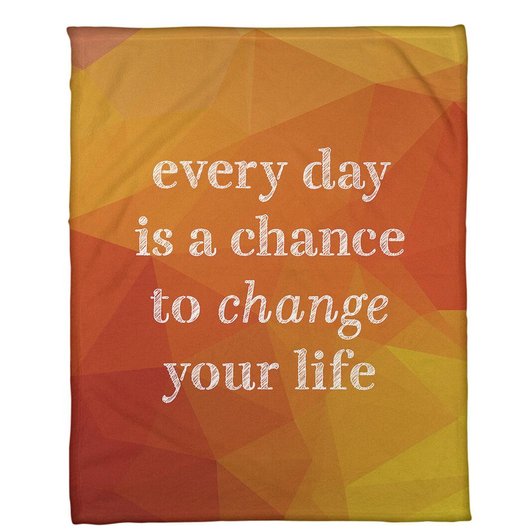 East Urban Home Faux Gemstone Change Your Life Quote Fleece Blanket Wayfair