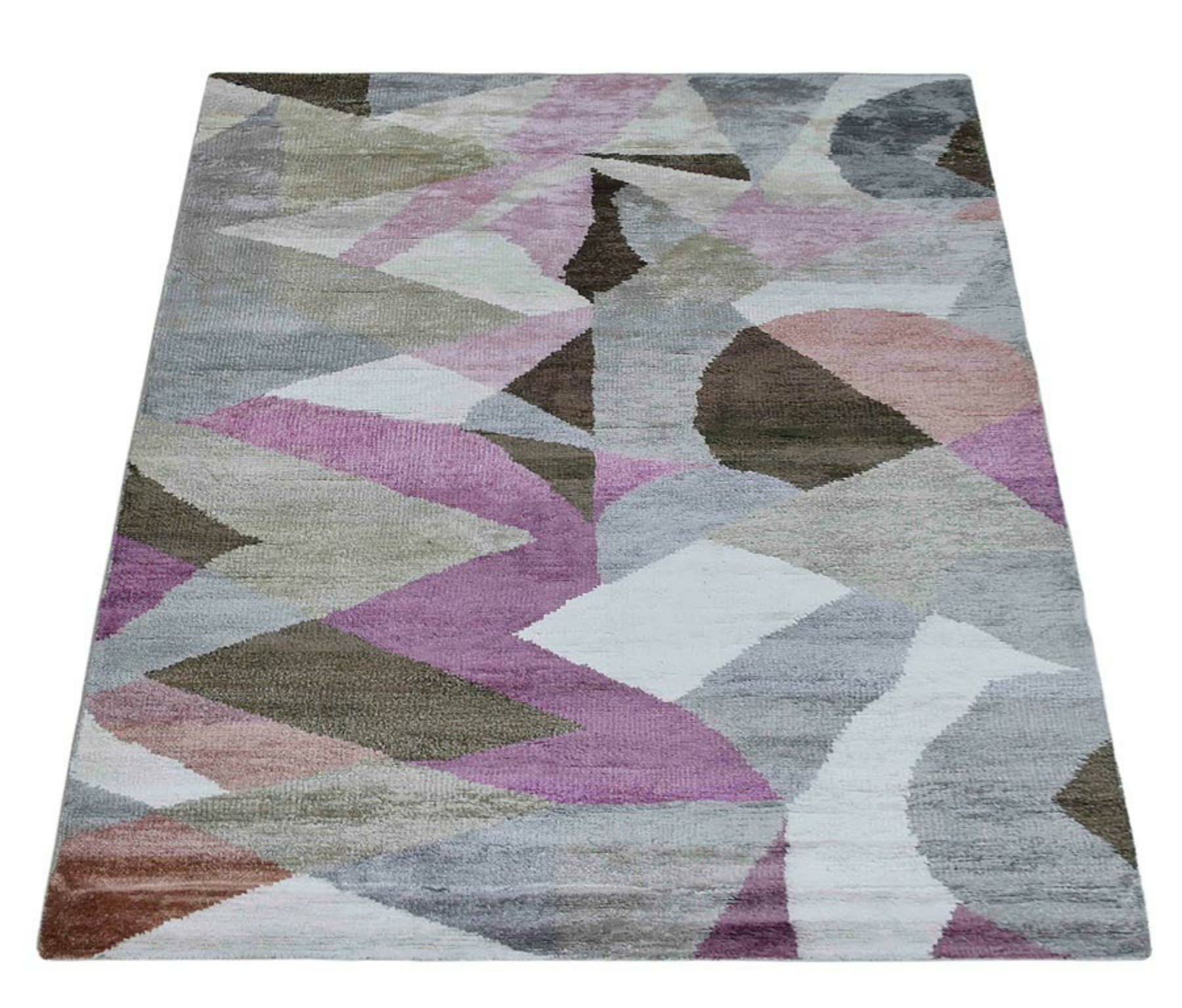 George Oliver Patchway Abstract Hand Knotted Gray Area Rug