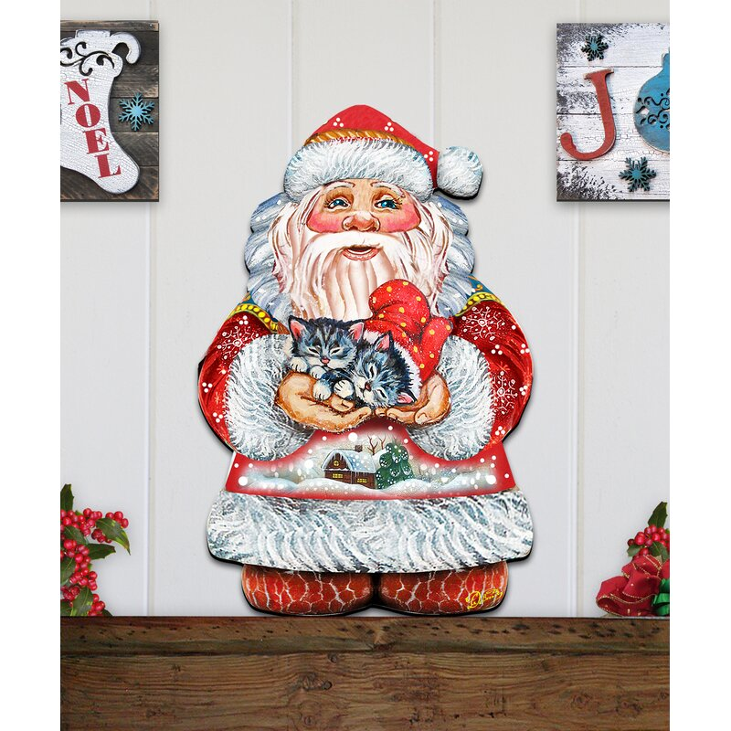 Door Hanger Tole Pattern New 2020 Christmas Santa The Holiday Aisle® Old World Kitten Holiday Santa Wooden Hanging