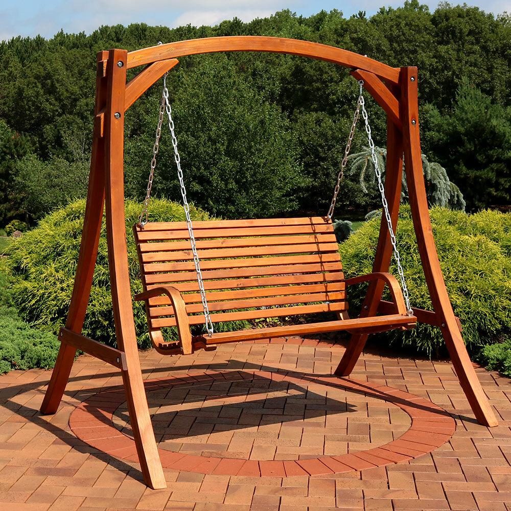 Loon Peak Gallichan 2 Person Wooden Porch Swing With Stand Wayfair
