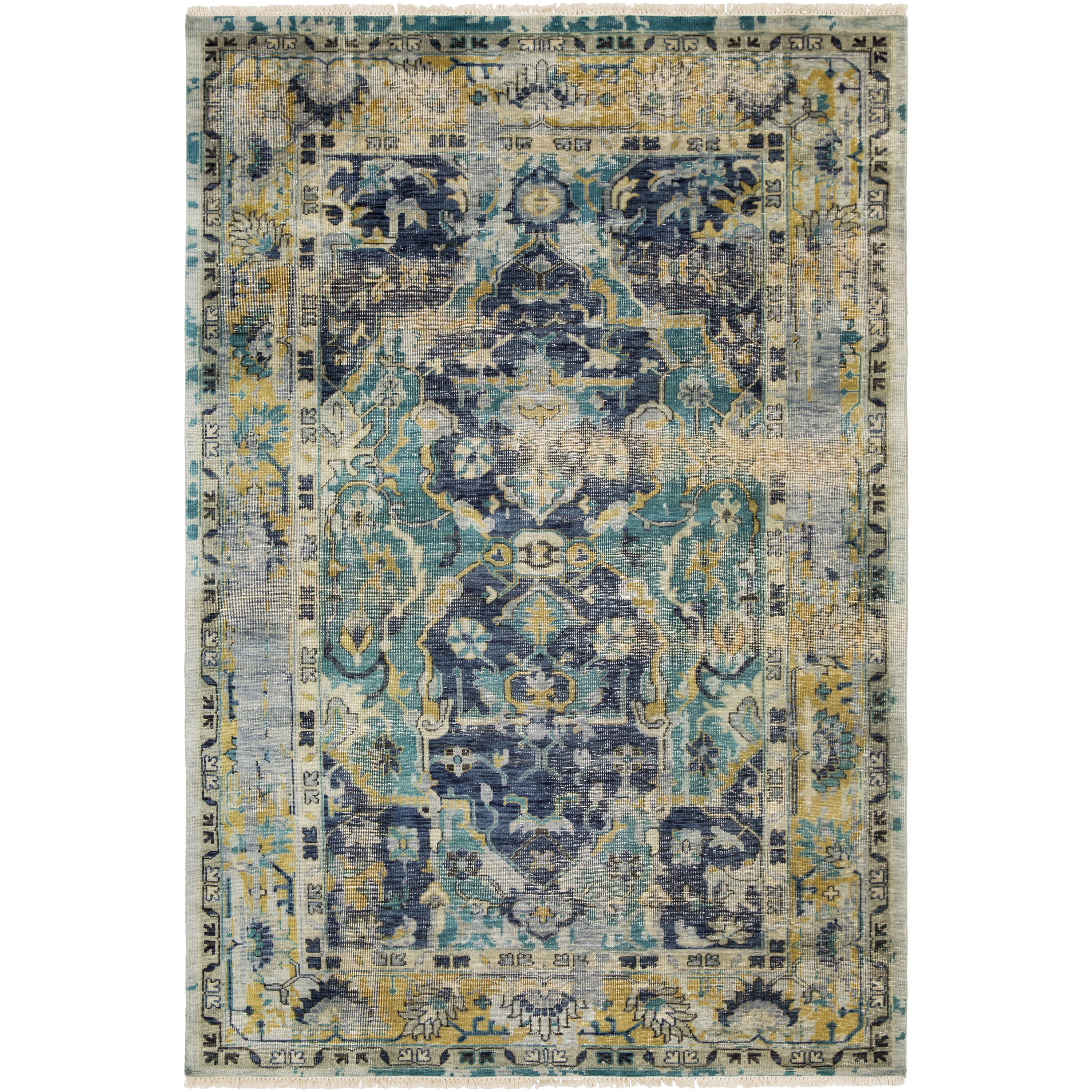 Festival Hand Knotted Navy Teal Area Rug