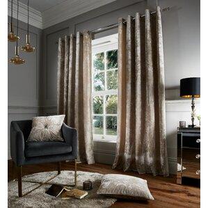 Crushed Velvet Eyelet Room Darkening Curtains (Set Of 2)