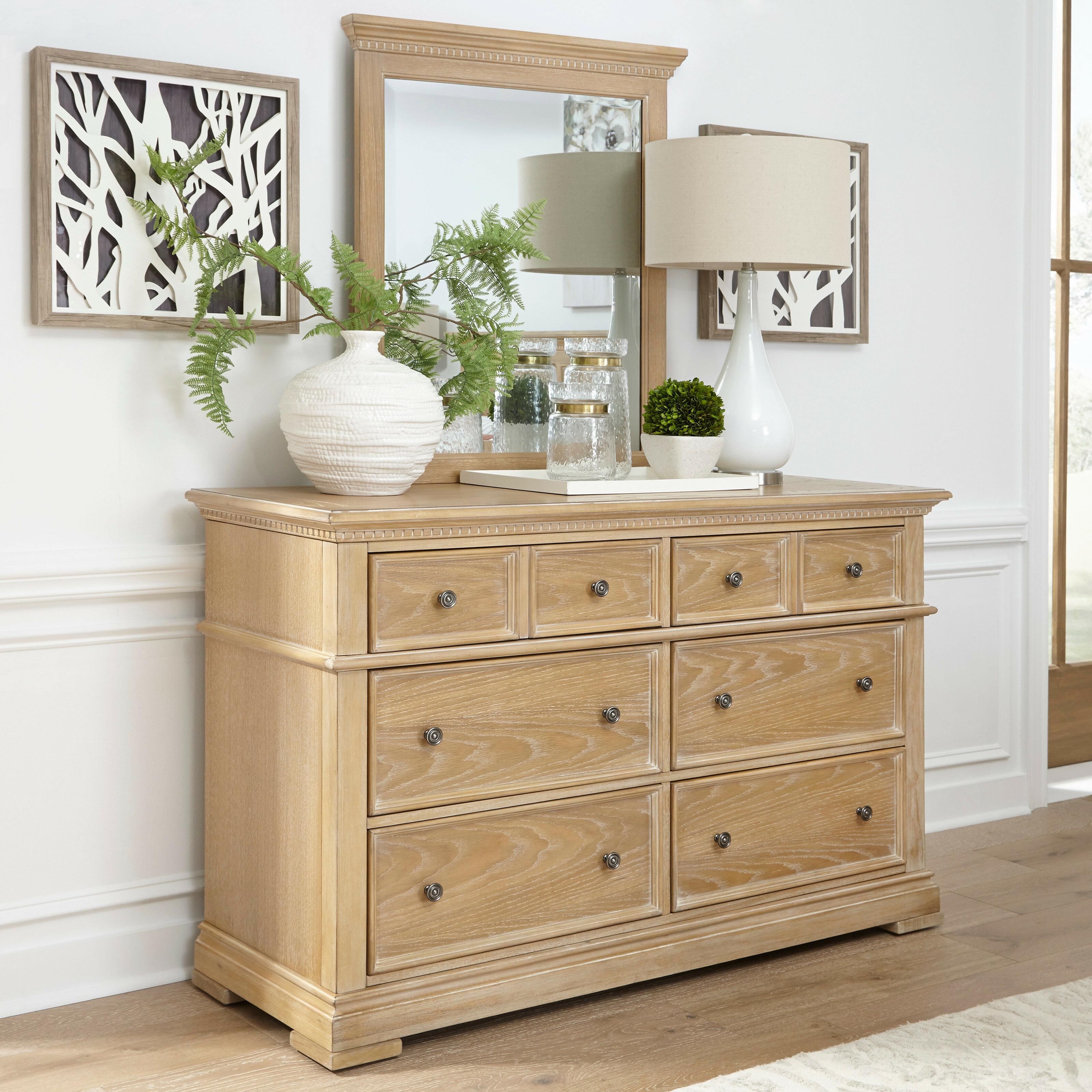 millsap 6 drawer double dresser with mirror