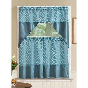 Clarisse Printed 3 Piece Kitchen Curtain Set