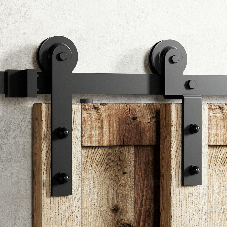 Homacer Single Bypass Double Door Barn Door Hardware Kit Reviews Wayfair