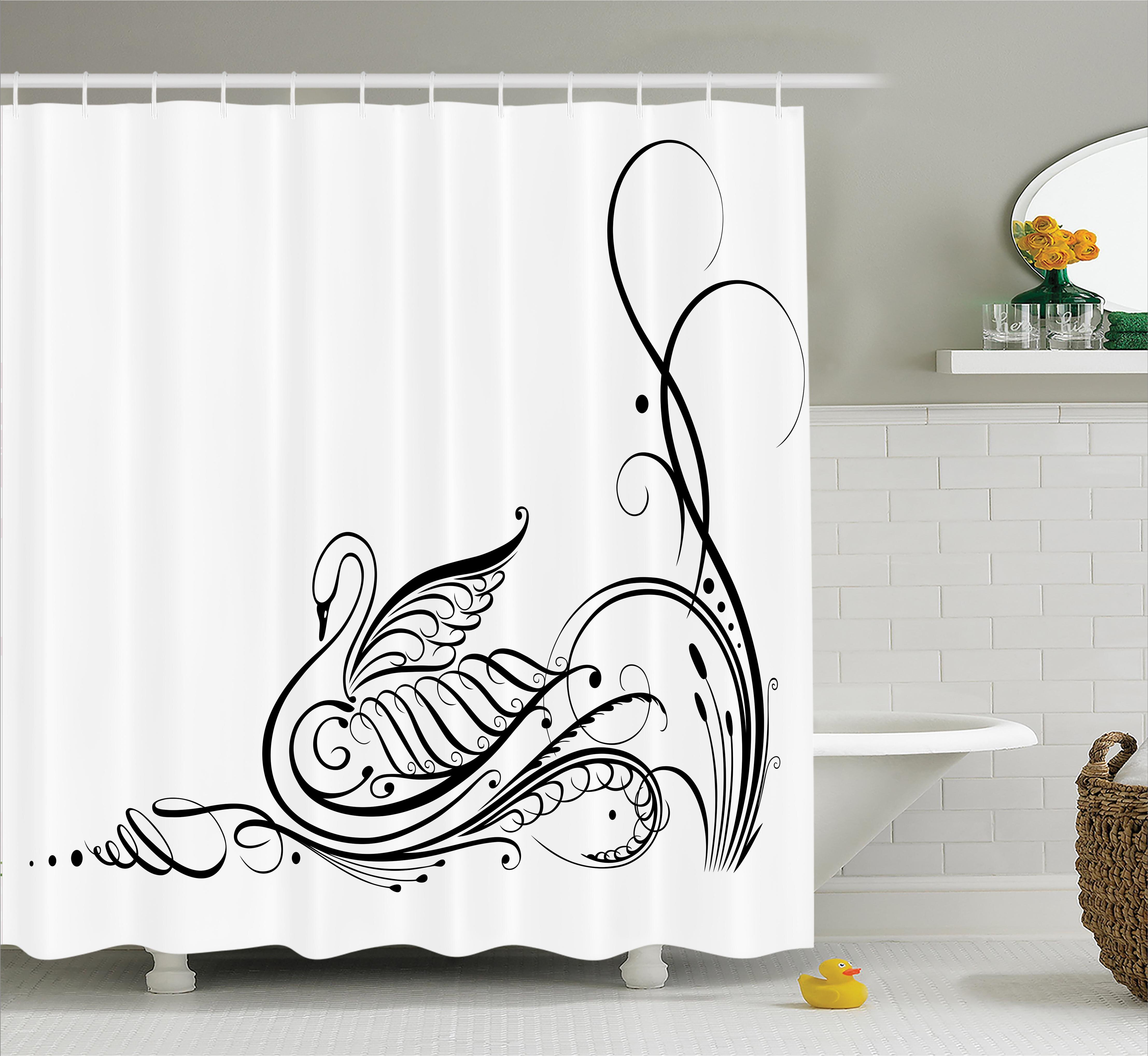 Ambesonne Animal Swan In River Shower Curtain Set