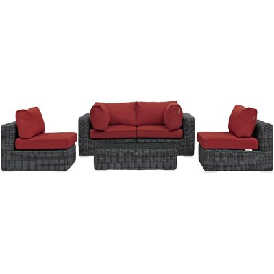Alaia 5 Piece Rattan Sunbrella Sectional Seating Group with Cushions Cushion Color: Red by Brayden Studio