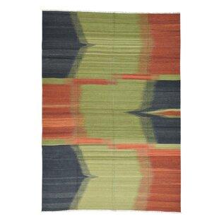Reviews Kilpatrick Kilim Flat Weave Oriental Hand-Knotted Green/Orange Area Rug ByBloomsbury Market