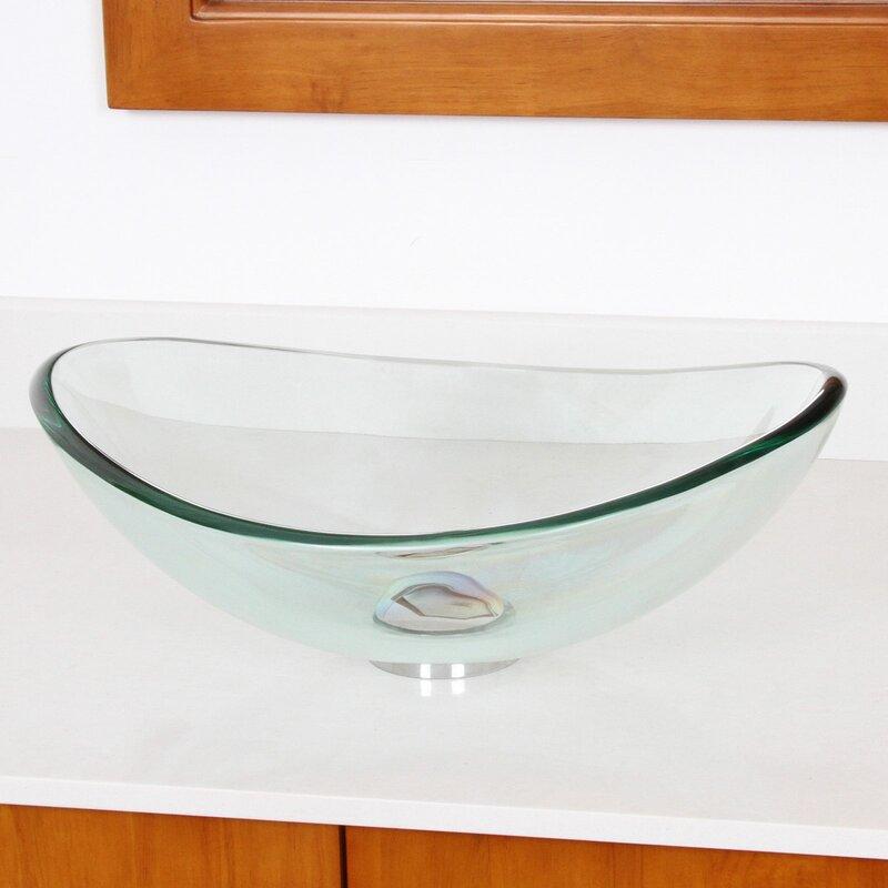 Mini Tempered Glass Oval Vessel Bathroom Sink