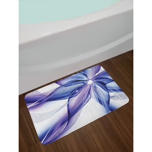 Abstract Geometrical Smoke like Striped Huge Flower Floral Design Work of Art Non-Slip Plush Bath Rug