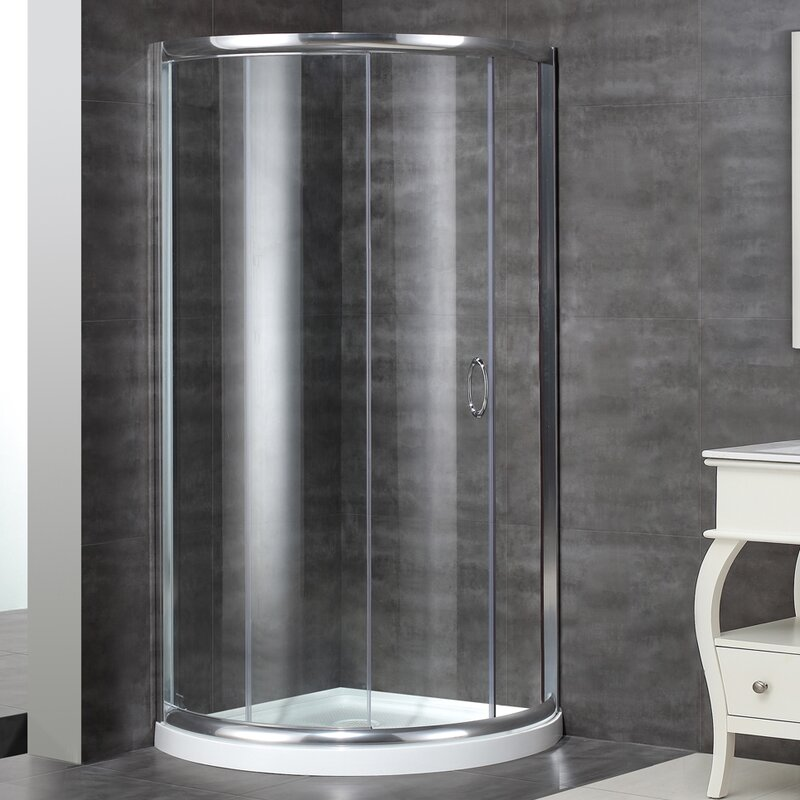 36 X Round Sliding Shower Enclosure With Base Included