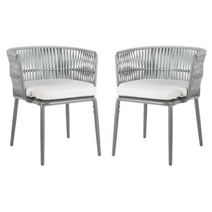 Jarne Rope Patio Dining Chair with Cushion (Set of 2)