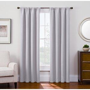 Satin Room Darkening Solid Blackout Rod Pocket Single Curtain Panel