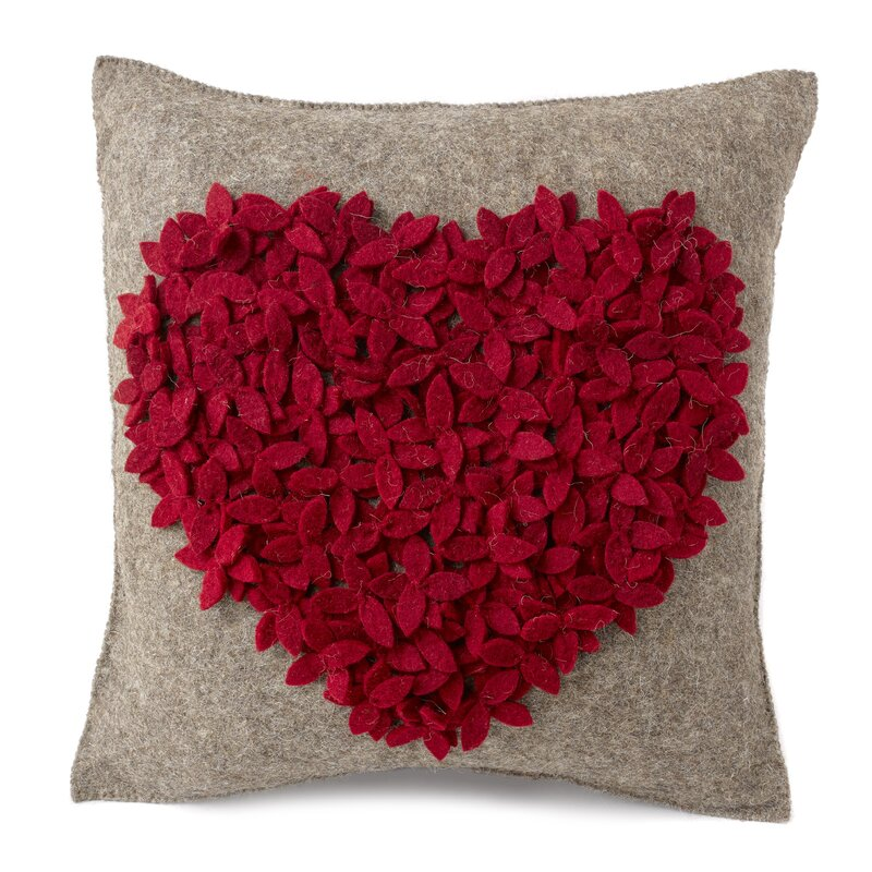 Heart Wool Pillow Cover