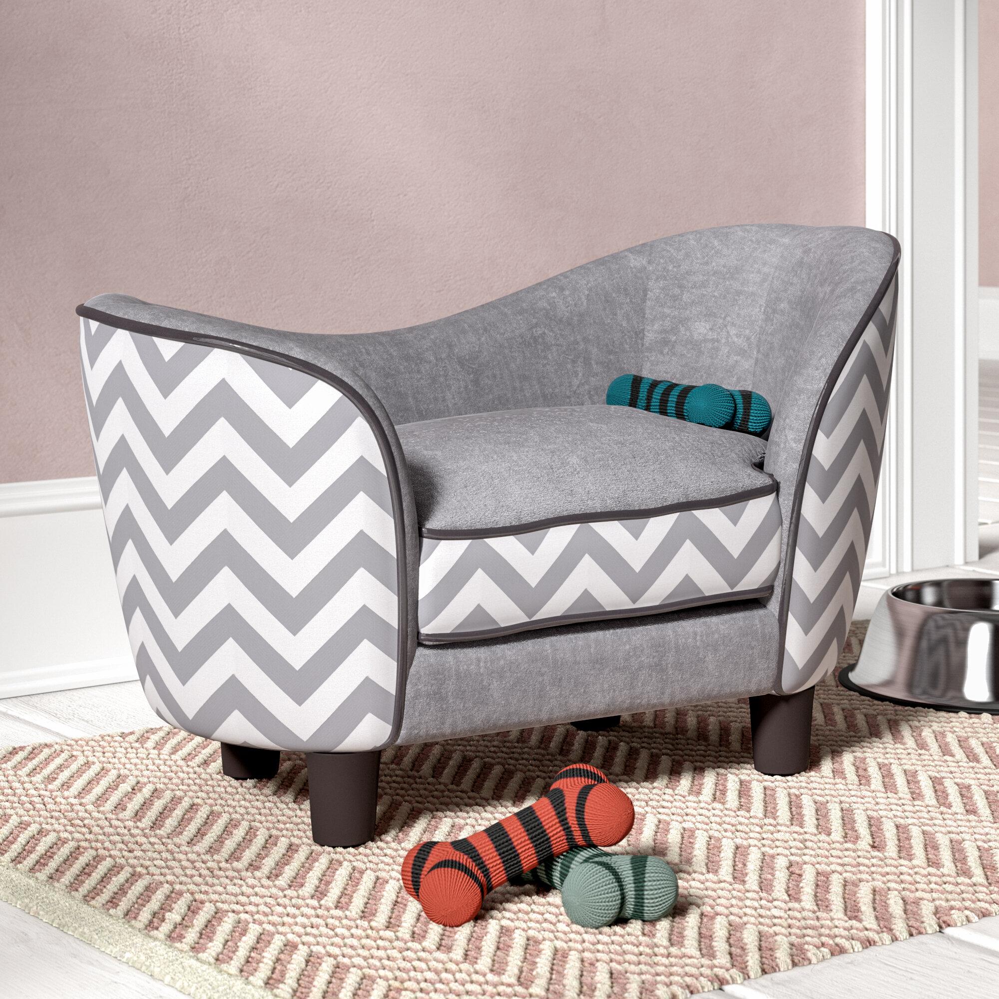 Fred Wooden Plush Fur Dog Sofa