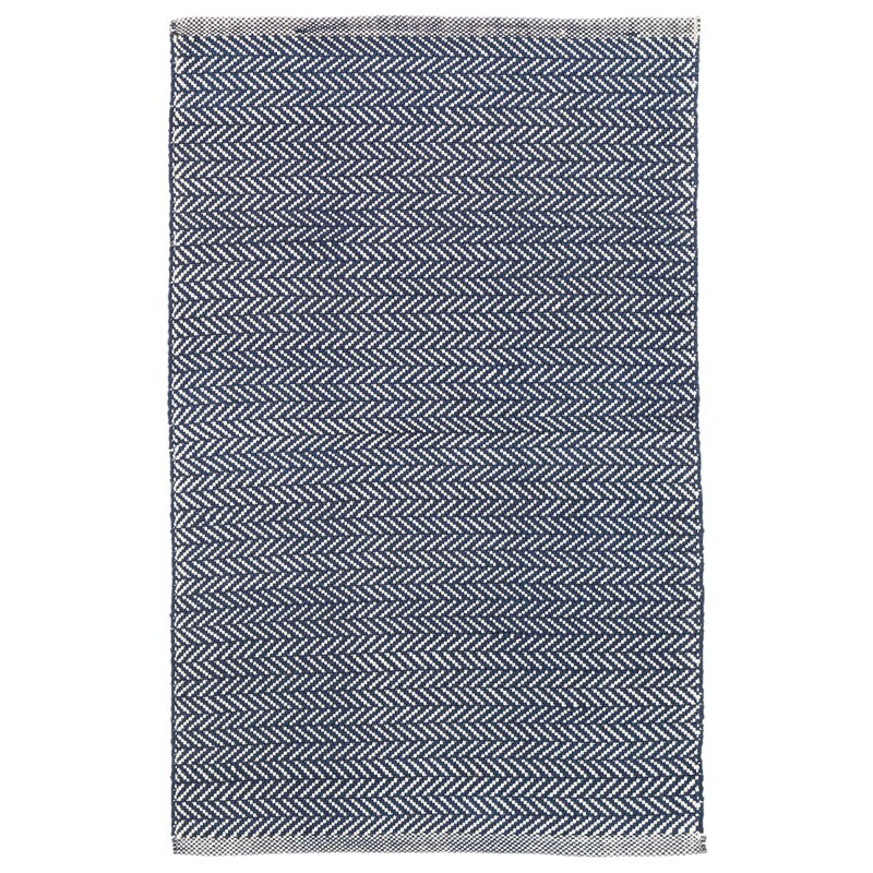 Dash and Albert Rugs Herringbone Polypropylene Denim Blue/Ivory Indoor/Outdoor Area Rug