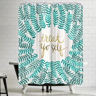 Treat Yo Self Turquoise Single Shower Curtain