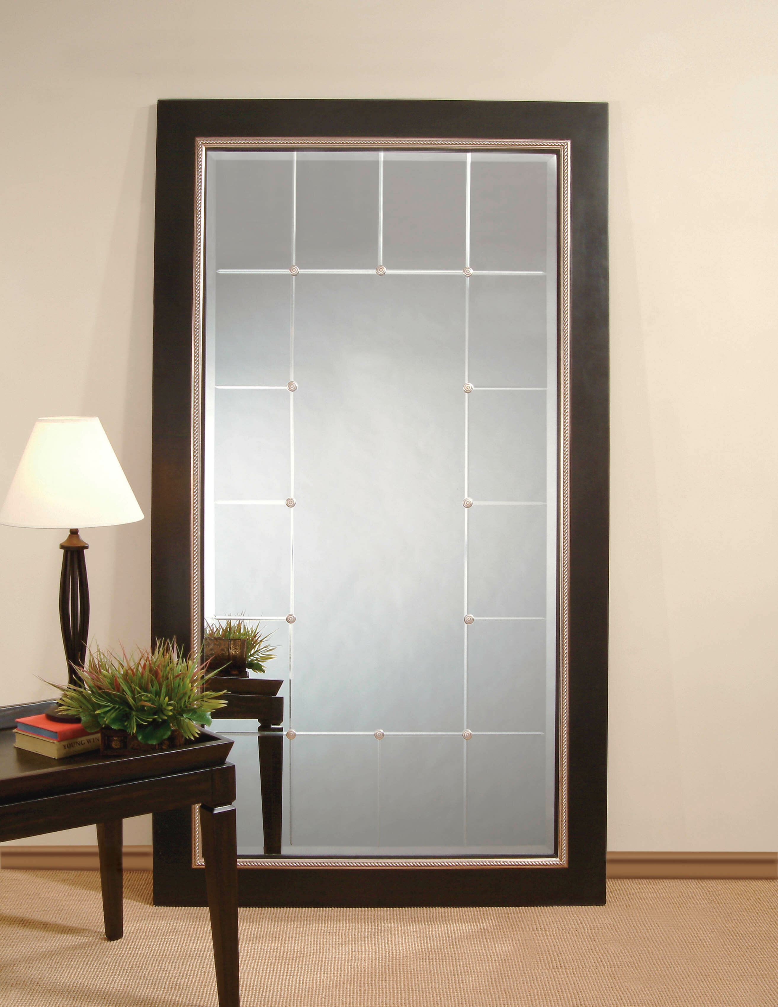 Rectangle Black and Silver Leaf Wood Leaner Mirror