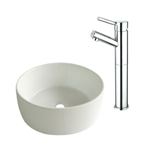 Kingston Brass Ceramic Circular Vessel Bathroom Sink with Faucet