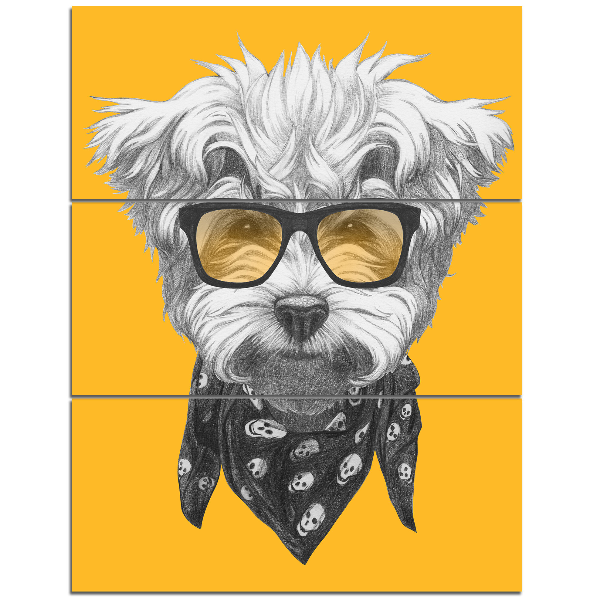 DesignArt \'Maltese Poodle with Sunglasses\' 3 Piece Wall Art on ...