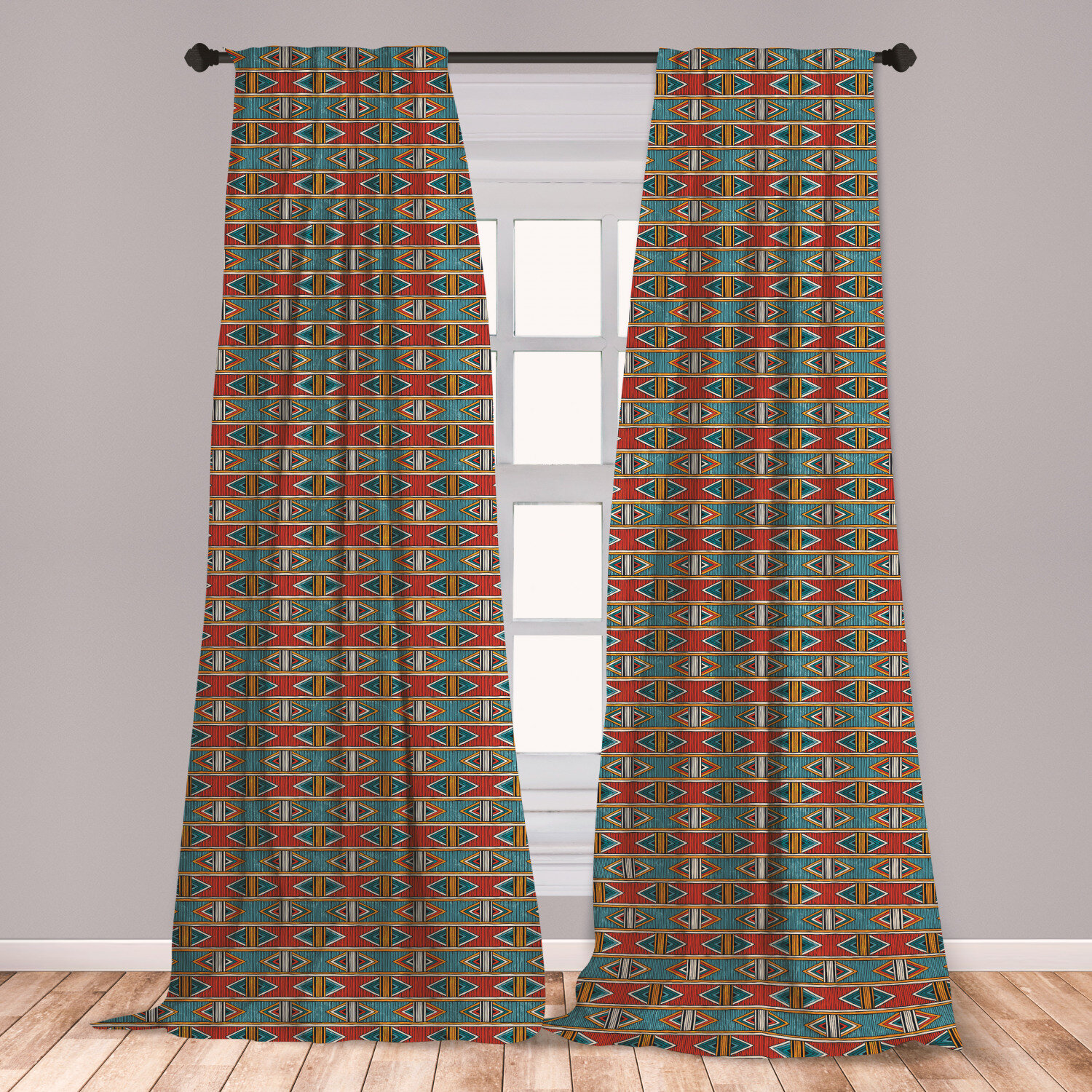 East Urban Home Kente Pattern Striped Room Darkening Rod Pocket Curtain Panels Wayfair