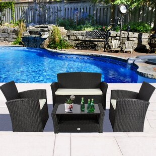 Bigham 4 Piece Rattan Sofa Set with Cushions