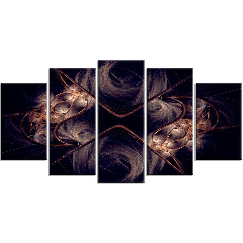 Designart Dark Gold Fractal Flower Pattern Graphic Art Print Multi Piece Image On Canvas Wayfair