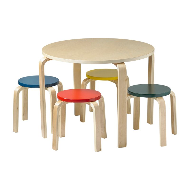 ECR4Kids Bentwood Kids\' 5 Piece Round Table and Chair Set & Reviews ...