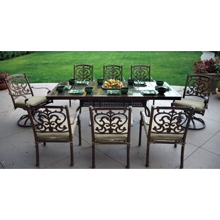 Astoria Grand Palazzo Sasso 9 Piece Rectangular Dining Set with Cushions