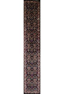 Online Reviews One-of-a-Kind Strathmore Mashad Traditional Persian Hand-Knotted Runner 2'11 x 16'6 Wool Black Area Rug By Isabelline