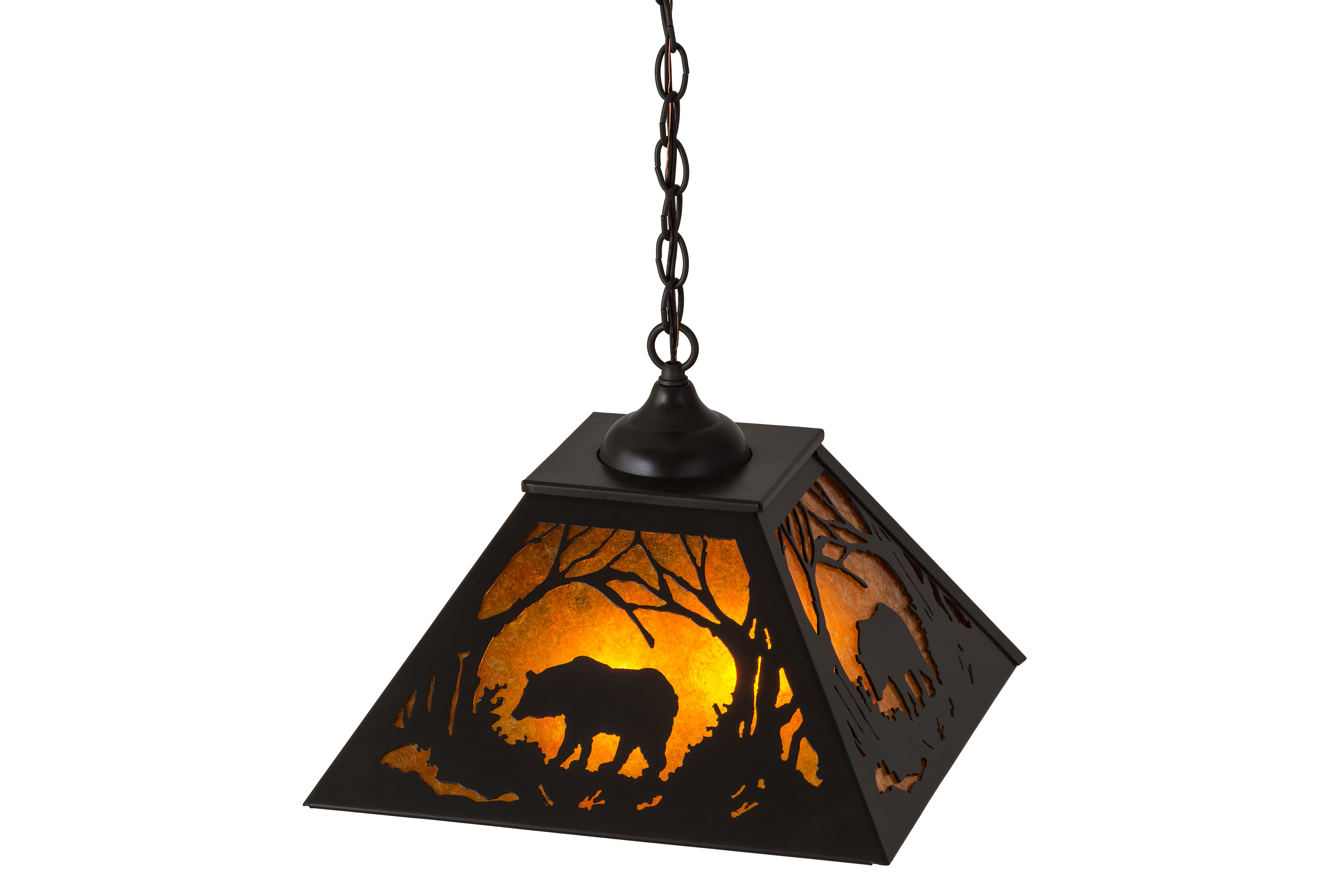 Meyda Tiffany Grizzly Bear At Dawn 2 Light Single Dome Pendant Wayfair