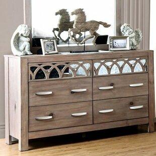 Jasmin 4 Drawer Double Dresser with Mirror by Mistana