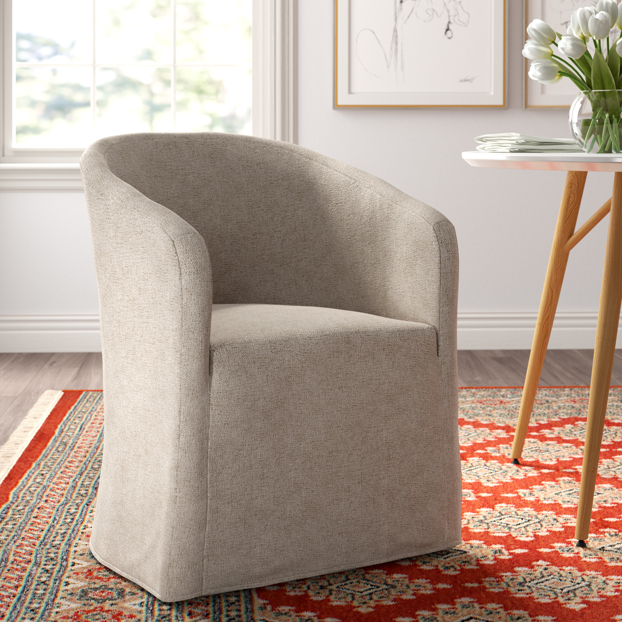 Cairo Upholstered Wingback Arm Chair in Beige