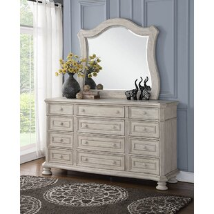 Piland 12 Drawer Double Dresser with Mirror