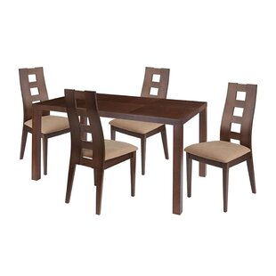 Wolfgang 5 Piece Solid Wood Dining Set by Ebern Designs