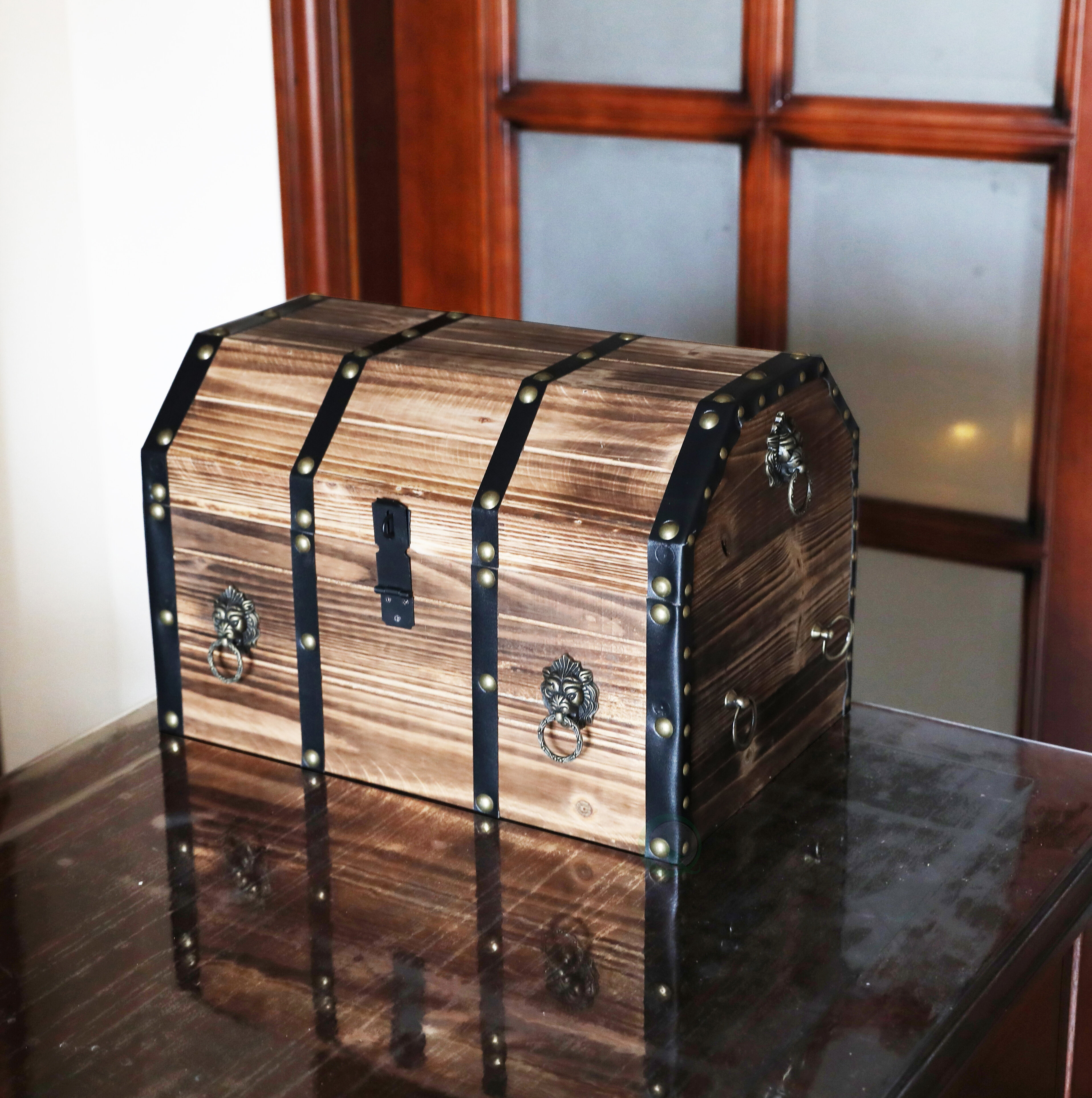 Large Wooden Pirate Lockable Trunk