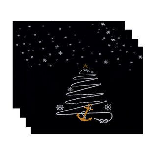 Winterview Holiday Anchor Geometric Print 14 Placemat (Set of 4) by Rosecliff Heights